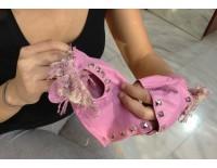 Guantes rosa en piel